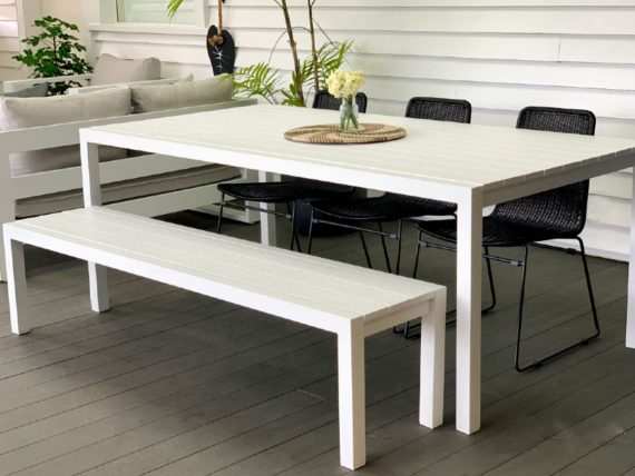 2M modern white outdoor table nz