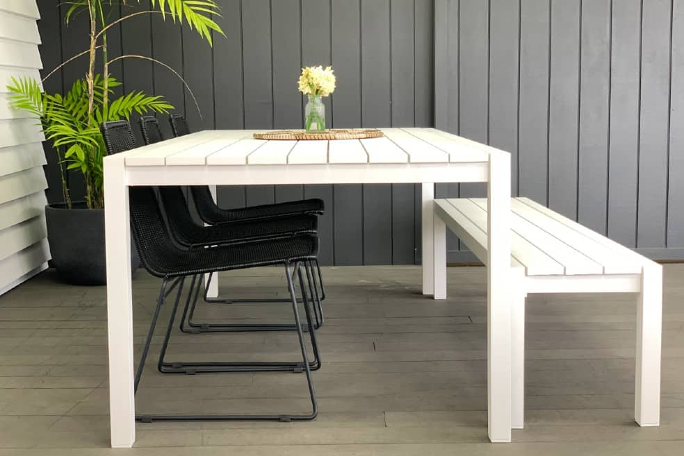 2M white outdoor table and bench seats nz
