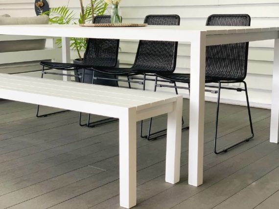 2m white aluminium outdoor table and bench nz