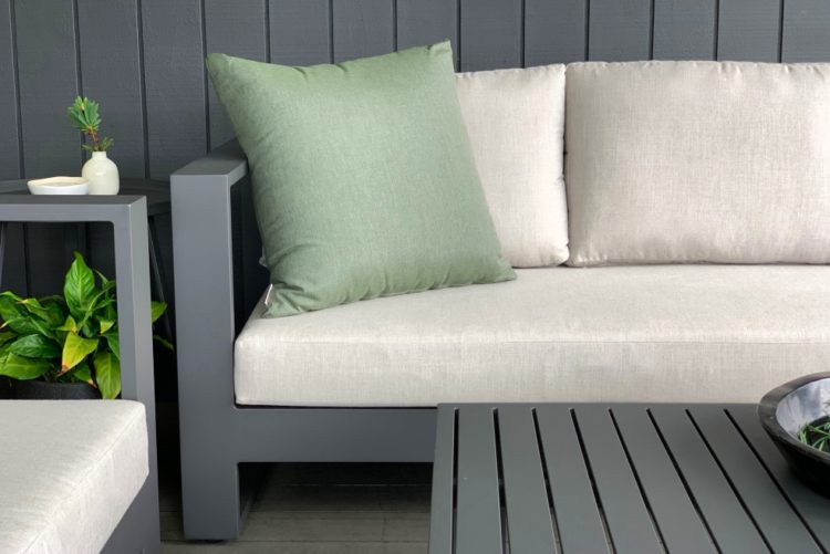 3 seater outdoor sofa charcoal frame beige cushions nz