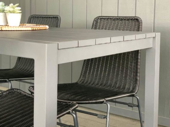 8 seater grey outdoor aluminium table auckland