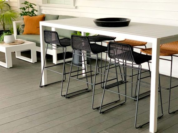 LONG WHITE OUTDOOR BAR TABLE AND CHAIRS AUCKLAND