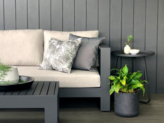 charcoal 2-seater outdoor sofa auckland