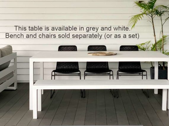 grey 8 seater outdoor dining table aluminium nz