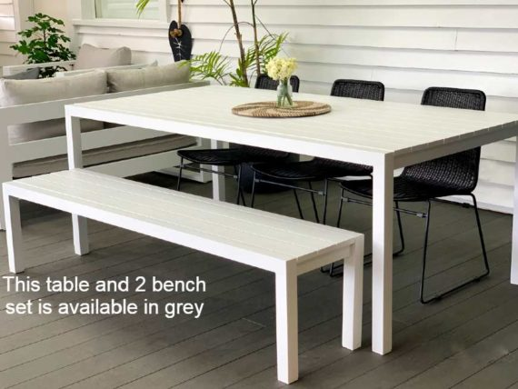 grey outdoor 2M dining table and bench seats nz