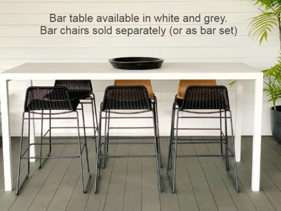 long 2M white outdoor bar table auckland