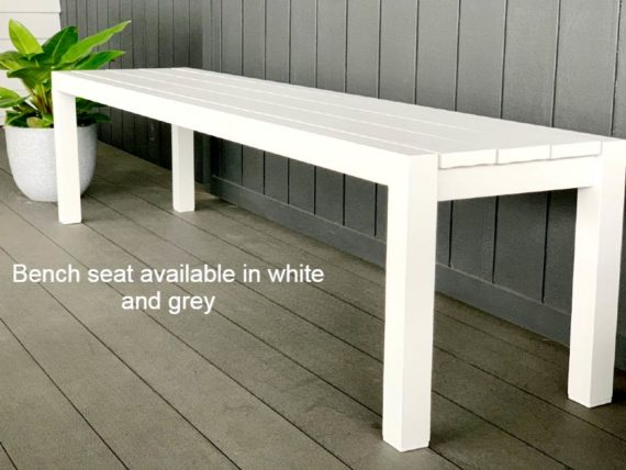 long grey outdoor bench seat aluminium nz