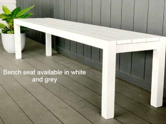 long grey outdoor bench seat aluminium nz