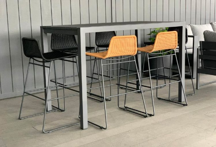 outdoor 6 seater bar table grey white nz