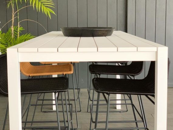 outdoor white 8 seater bar table
