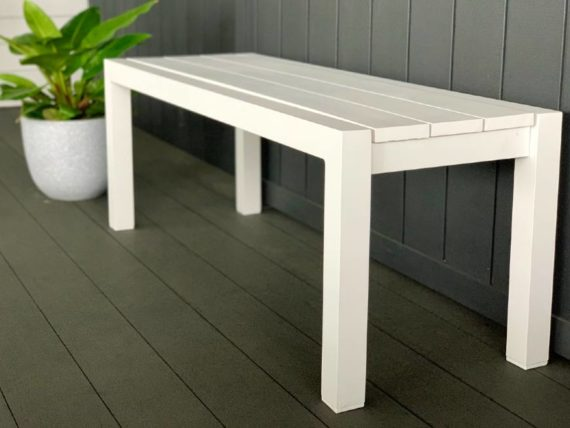 small white outdoor bench seat nz