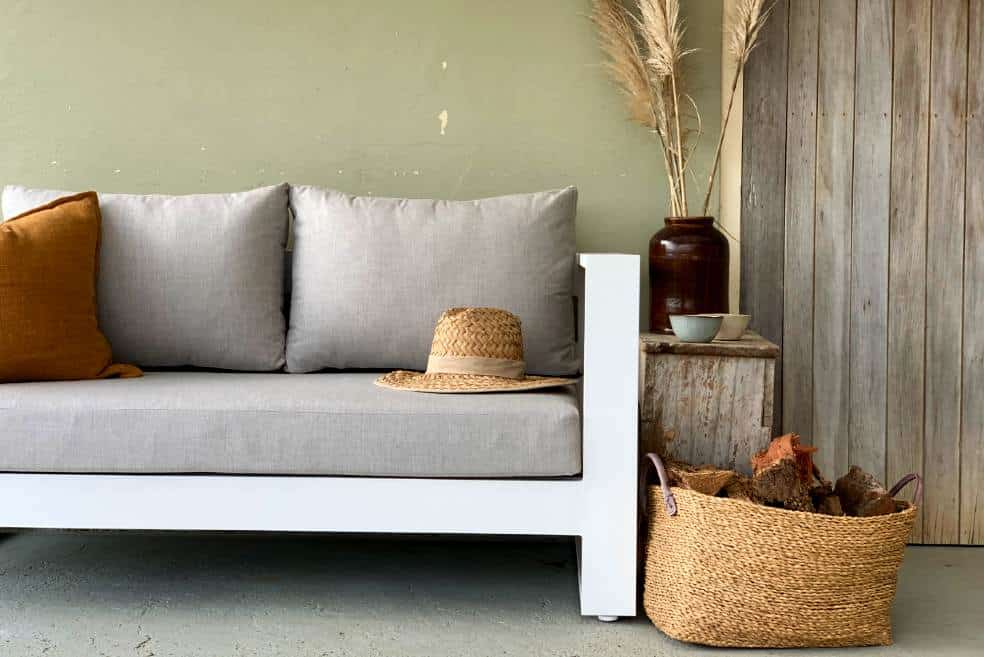 sunbrella linen look fabic white outdoor sofa