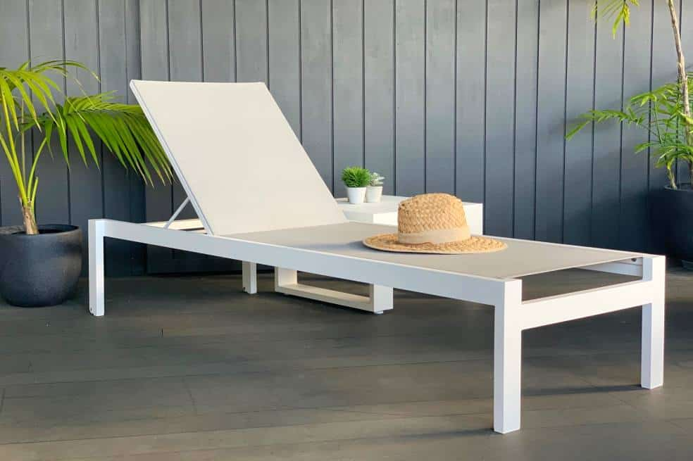white quality reclining sunlounger auckland