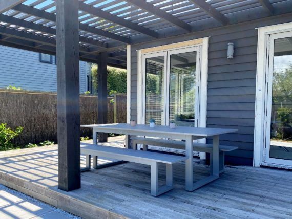 quality grey outdoor 2400 table and benches
