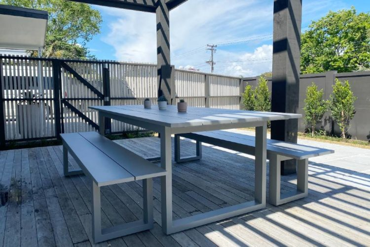 quality outdoor table and benches grey nz