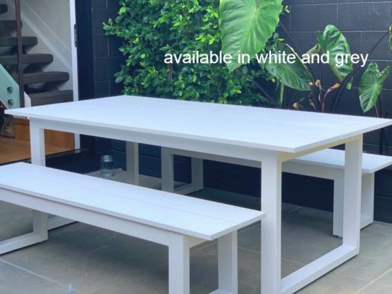 grey outdoor 2M table and bench seats nz