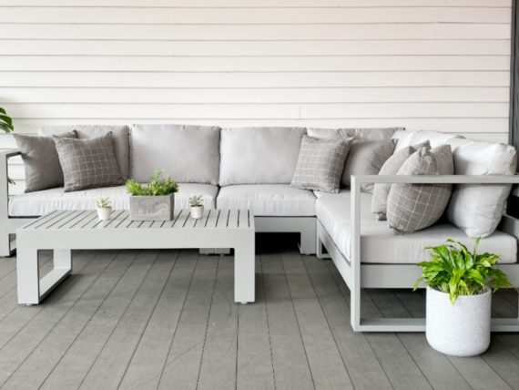 quality outdoor grey silver corner sofa