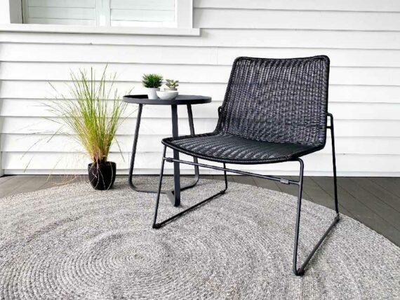 black outdoor rattan relax chair